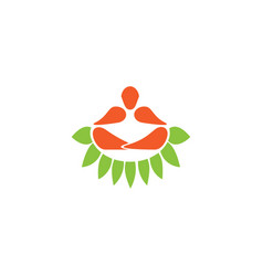 Yoga meditation position sit in nature zen vector