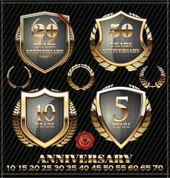 Anniversary gold design element collection vector image