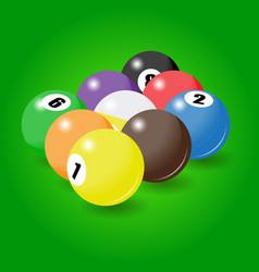 Billiard balls start position for nine-pool game vector