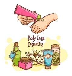 Body care cosmetics products ad poster vector
