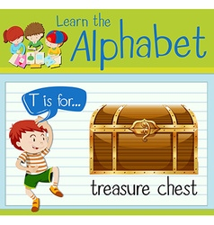 Flashcard letter t is for treasure chest vector