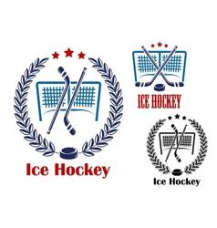 Ice hockey net emblems vector image vector image