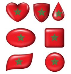 Morocco flag in various shape glossy button vector image