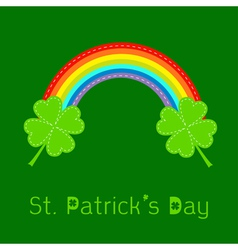 Rainbow and two clover leafs St Patricks day vector image vector image