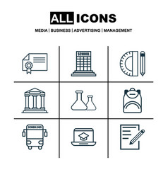 set of 9 education icons includes haversack vector image vector image