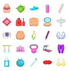 treadmill icons set cartoon style vector image