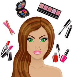 beautiful woman and various cosmetics vector image vector image