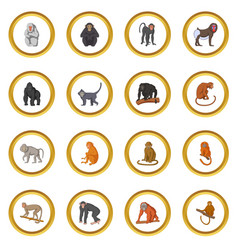 different monkeys icons circle vector image vector image
