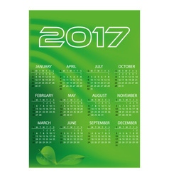 2017 simple business wall calendar green color vector image vector image