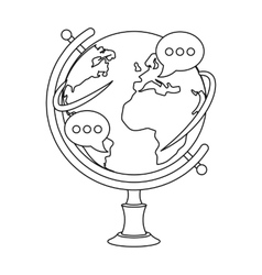 Globe of various languages icon in outline style vector image vector image