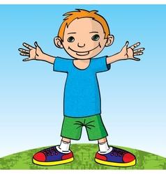 Happy little boy and happy vector image