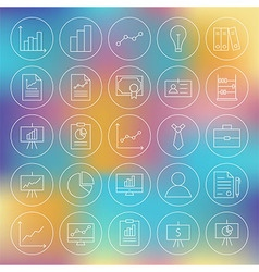 Line Circle Finance Business Office Icons Set vector image