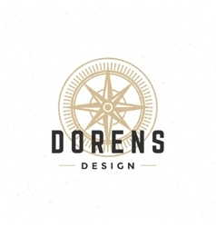 Old compass logo hand drawn vintage design vector image