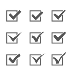 Set of different check marks in boxes vector image vector image