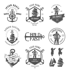 Set of vintage nautical vector image