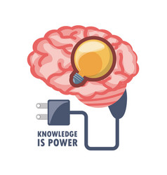 Brain with bulb inside and power cable vector