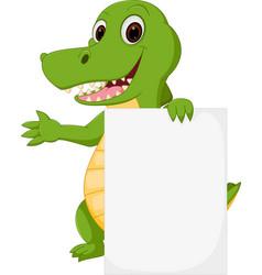 happy crocodile cartoon with sign vector image