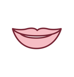 Pink silhouette of lips smiling vector