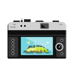 retro digital photo camera with landscape on vector image
