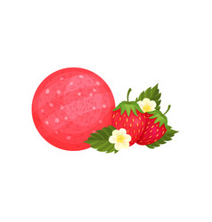round bar of soap with strawberry aroma fresh vector image vector image