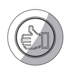 sticker contour of pixel thumb up inside on vector image