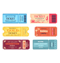 theatre cinema ticket best party gold welcome set vector image vector image