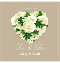 Wedding invitation with heart of flowers vector image vector image