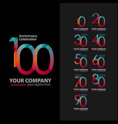 100 year anniversary celebration set company vector