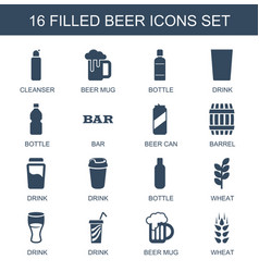 16 beer icons vector image