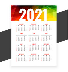 2021 abstract new year calendar design colors vector