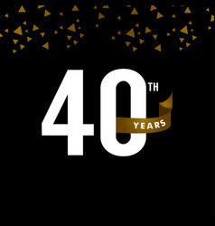 40 years anniversary number with gold ribbon vector
