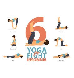 6 yoga poses for concept fight for insomnia vector