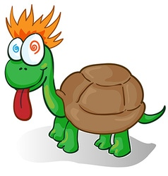 a foolish cartoon turtle vector image