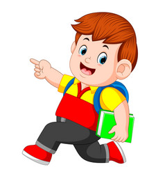 A schoolboy with backpacks and books walking vector