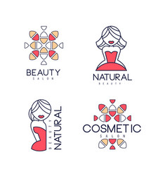 abstract outline emblems for beauty salon vector image