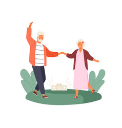 active old couple dancing at park flat vector image