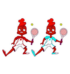 African american boys playing tennis on white vector