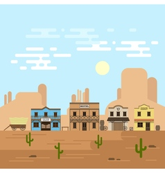 An old western town in a daytime Saloon hotel and vector