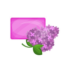 Bar of purple hygienic soap and flowering branch vector