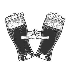 beer mug dance sketch engraving vector image