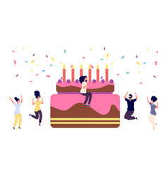 birthday party girl with cocktail and cake funny vector image