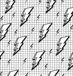 Black and white retro seamless pattern with bolt vector image
