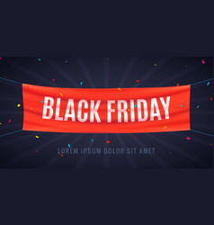 black friday 3d flag ribbon design banner vector image