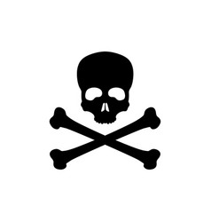 black silhouette of skull and bones vector image