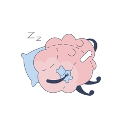 Brain Sleeping With Teddy Bear Comic Character vector