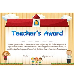 Certificate with students and school in background vector image