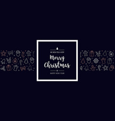 Christmas icon elements frame greeting banner vector