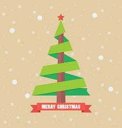 Christmas tree ribbon vector