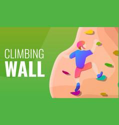 climbing wall concept banner cartoon style vector image