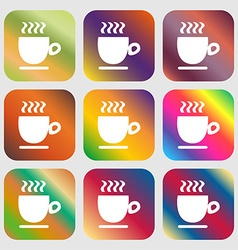 Coffee cup sign Nine buttons with bright gradients vector